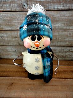 Hand Painted Holiday Christmas Winter Snowman Doll Gourd