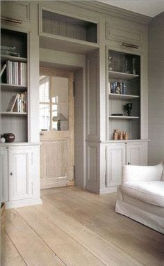 Beautiful bookcases around old door, soft tones. Beautiful bookcases around old door, soft tones. Built In Bookcase, Bookshelves, Bookcase Door, House Ideas, Living Spaces, Living Room, Built Ins, Home And Living, Family Room