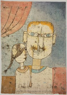 Adam and Little Eve, 1921  Paul Klee (German, 1879–1940)  Watercolor and transferred printing ink on paper