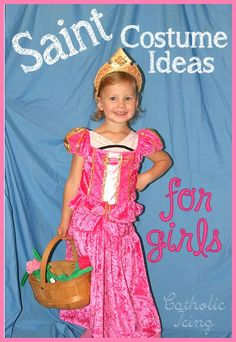Fun list for All Saints Day party/parade. Saint Costume Ideas for girls! There are over 50 costume ideas from (Royalty, Biblical, Nuns, etc) and you can make all of them yourself. Catholic Crafts, Catholic Kids, Catholic Saints, Halloween Costumes For Girls, Girl Costumes, Costume Ideas, Party Costumes, Saint Costume, Saints For Kids