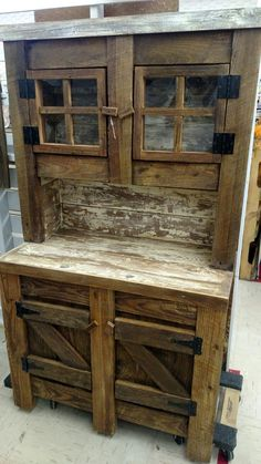 We like how this little set back rustic cupboard turned out.40in W x70in H. Made from old pine .