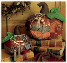 NECKTIE PUMPKINS! These are made from old neckties!