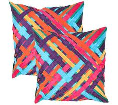 """Set of 2 Textural Ribbons Multi 18"""" Square Throw Pillows 