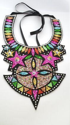 Rainbow Stars and Eyes Glitter Bib Statement Necklace