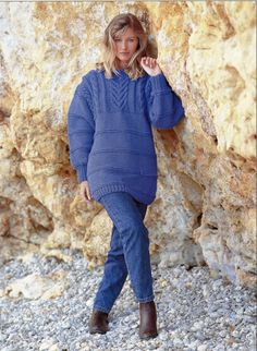womens super chunky sweater knitting pattern PDF by Hobohooks
