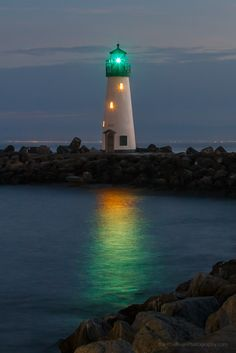Twilight On The California Coast  Walton Lighthouse Near Santa Cruz Harbor.......