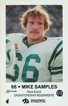 1982 Mike Samples Saskatchewan Roughriders, Canadian Football League, Grey Cup, Football Icon, Legends, The Past, Pride, Posters, Memories