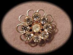 Dainty Clear Rhinestone Flower Pin c1950 by thejeweledbear on Etsy, $8.00