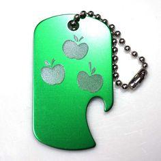 """MLP Applejack Green Key Chain 4"""" Chain Dog Tag Aluminum Bottle Opener EDG-0244"""