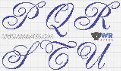 Cross Stitch Alphabet Patterns, Embroidery Alphabet, Cross Stitch Letters, Cross Stitch Designs, Wedding Cross Stitch, Cross Stitch Rose, Cross Stitch Charts, Cross Stitching, Cross Stitch Embroidery