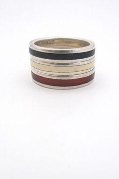 Walter Schluep, Canada - silver & enamel stacking rings trio #enamel #ring