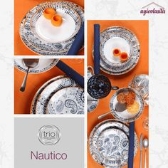 🍽️✨ Σερβίτσιο φαγητού #CryspoTrio με μοντέρνο design σε αποχρώσεις του μπλε με πορτοκαλί λεπτομέρειες! Kitchen Decor, Objects, Plates, Table Decorations, Tableware, Licence Plates, Dishes, Dinnerware, Griddles