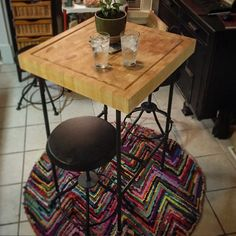 Amazing DIY Butcher Block Pub Table. That Extra Height Is So Nice If Youu0027re