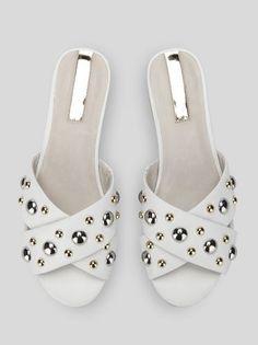 6151a2c65 Verna Stud Leather Slide Sandal, WHITE Red Sandals, Slide Sandals, Strappy  Sandals,