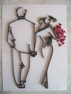 pareja en filigrana
