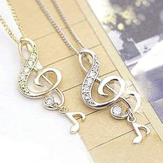 Fashion Musical Note Pendant Chain Necklace at Online Cheap Fashion Jewelry Store Gofavor - StyleSays