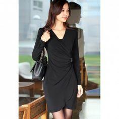 $10.09 Ladylike V-Neck Pleated Collect Waist Long Sleeve Skinny Dress for Women