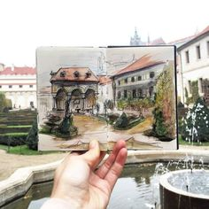 Little Sketches of Prague Photographed on Location by Ieva Ozola Small Sketchbook, Travel Sketchbook, Sketchbook Ideas, Landscape Illustration, Watercolor Illustration, Building Illustration, Graffiti, Street Art, Street Style