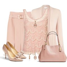 A fashion look from February 2014 featuring embellished shirt, pink long sleeve top and bow pumps. Browse and shop related looks. 60 Fashion, Spring Fashion Trends, Work Fashion, Skirt Fashion, Fashion Dresses, Womens Fashion, Fashion Design, Modest Outfits, Classy Outfits