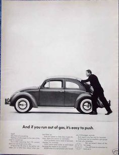 Volkswagen Beetle Bug Run Out Gas Easy To Push (1962)