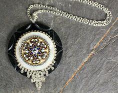 Assemblage Necklace, bakelite, mother of pearl, large enamel button statement rhinestone pendant vintage antique jewelry repurposed elegant