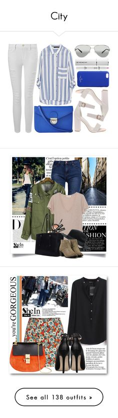 """""""City"""" by serena-gigante ❤ liked on Polyvore featuring Frame Denim, Zara, Express, Tiffany & Co., Kate Spade, Givenchy, vintage, Sheinside, shein and Chloé"""