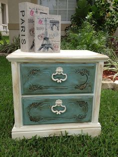 Shabby Chic Chalk Paint Nightstand/ End by JenniferParisDesigns, $175.00