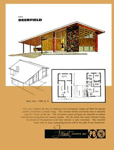 The Deerfield - Fairmont Homes by Precision Built - Status Living for the Sixties by MidCentArc Modern Floor Plans, Modern House Plans, Vintage Architecture, Architecture Plan, Mid Century House, Mid Century Style, Fairmont Homes, Mid Century Exterior, Vintage House Plans