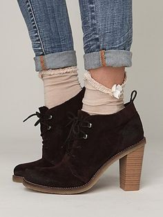 Free People. love these with the ruffle socks. #boots, #socks,