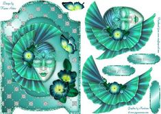 Masquerade Mask Screen Card on Craftsuprint designed by Karen Adair - This gorgeous screen card front features a stunning Masquerade mask, beautifully embellished with a lovely fan effect headress and lovely flowers. Decoupage is included along with three sentiment tags, one left blank for you to personalise if you wish. If you like this check out my other designs, just click on my name. - Now available for download!