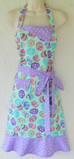 Cute Easter Apron Easter Eggs Retro Full Apron by KitschNStyle