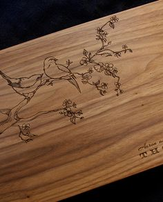 Engraved Cutting Board with Love Birds - Perfect Gift for Couples.