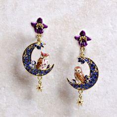 Fashion Jewelry Les Nereides Unicorn Earring Necklace Set Traveling Jewelry Sets