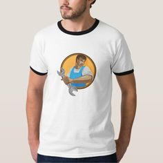 Mechanic Worker Holding Spanner Circle WPA T Shirt. WPA style illustration of a mechanic worker looking to the side holding spanner wrench set inside circle on isolated background. #illustration #MechanicWorkerHoldingSpanner