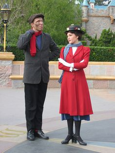 Mary Poppins and Bert. They are literally always walking around Disneyland. You can't go a day with out seeing them. CUTEST couple and cast memebers ever.