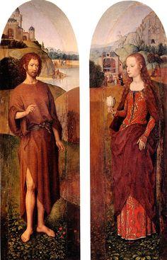 Св. Иоанн Креститель и св. Мария Магдалина (створки триптиха, 48 х 16 - каждая). Hans Memling (1440-1494)
