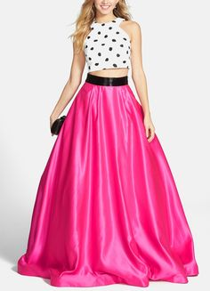 Obsessed with this polka dot crop and hot pink ball gown for prom.