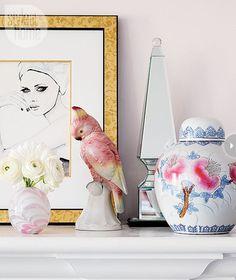 Christine Dovey Boheme et Bijou.  Styled pink mantle.