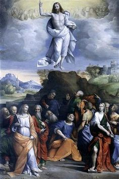 """Title: """"Ascension Of Christ"""" Artist: Benvenuto Tisi Style: Mannerism (Late Renaissance) Genre: Religious Painting Date: (1520) Media: Oil on canvas Location: Private Collection"""