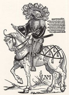 Title: Quartiermeister              Tags: Katzbalger, Kuhmaul shoes, Hat, Küse, Landsknecht, Horse, Stripes, Chainmail              Date: ca. 1535                        Artist: Erhard Schoen              Provenance: Germany              Collection: Grafische Sammlung Albertina
