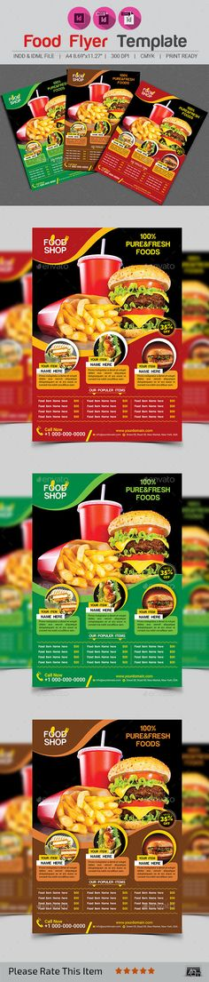 Buy Food Flyer Template by on GraphicRiver. Brosure Design, Menu Design, Food Design, Flyer Design, Modern Design, Food Menu Template, Flyer Template, Menu Templates, Restaurant Flyer