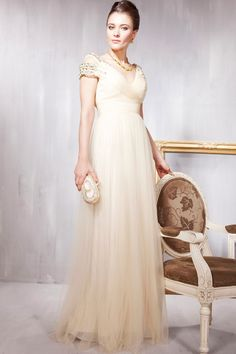 New Fashion BeigeProm Chiffon Off-the-shoulder Beading Formal Long Evening Dress