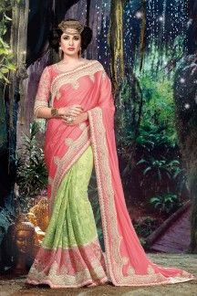 Yuvika Chaudhary Pink-Sea Green Color Designer Georgette-Net Saree