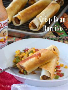 Crisp Bean Burritos   Budget Gourmet Mom #30MinuteMeal #vegetarian