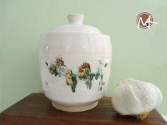 Handmade White Stoneware Garlic Storage Jar with Red Flowers Ceramic Bowls, Stoneware, Garlic Storage, Flower Branch, Jar Storage, Green Flowers, Workshop, Red, Handmade