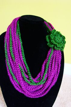 Crochet Chain Scarf Cowl Necklace with Flower by Lakme by lakmep, $15.00