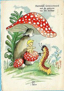 Mushroom Elf Baby on Mushroom with Caterpiller | eBay
