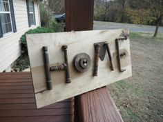 Charming home sign  rusty old farm items rough by TheCharmingFarm, $45.00