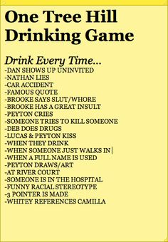 One tree hill drinking game. I think I've chosen wisely. This might have been the best (and most dangerous) idea I've ever had.