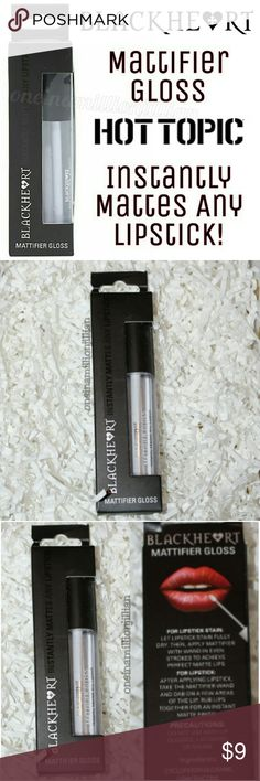 Blackheart Beauty Mattifier Gloss New in Box - Never Used  Full Sz & Authentic  Color: Clear  Make any lip stick or stain instantly matte with this Mattifier Gloss from Blackheart Beauty. Just apply a small amount of the clear gloss over a fully dry lip & voila! Instant matte! An amazing essential in your beauty arsenal.  Don't forget to check out the rest of my page for more great items & discounts. #oneinamillionjillian Hot Topic Makeup